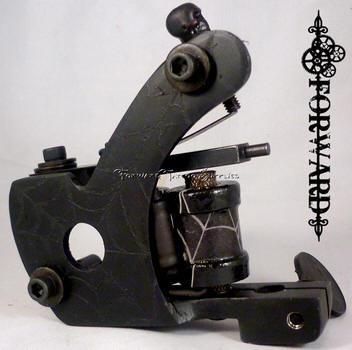 One Off Carved Spider Web Flat Black Walker Shader Tattoo Machine USA